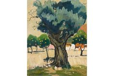 "Borgeaud, Georges (Lausanne 1913–1998 Genf) ""Les orangers"", 1979. Öl auf Leinwand. Unten links si"
