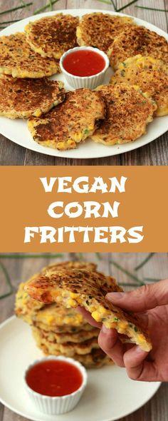 Vegan Corn Fritters. Substitute Bob's Red Mill 1:1 gluten free baking flour for a gluten free vegan recipe! Easy peasy!