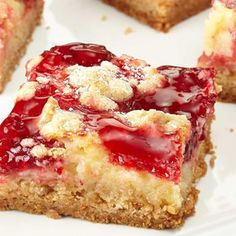 Strawberry Cheesecake Bars Ingredients 1 box Duncan Hines® Signature French Vanilla Cake Mix ½ cup butter, melted 3 large eggs, divided 1 package oz) cream cheese 2 cups plus 2 Tbsp. confectioner's sugar 1 can oz) Duncan Hines Comstock® Strawberry Strawberry Cheesecake Bars Recipes, Strawberry Poke Cakes, Strawberry Recipes, Strawberry Bars, Cheescake Bars, Cherry Cheescake, Fruit Cheesecake, Blackberry Cake, Strawberry Pretzel