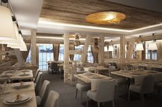 Restaurant - Hotel de Rougemont - By Plusdesign, architects Claudia Sigismondi & Andrea Proto Hall Hotel, H Design, Dining Table, Chandelier, Ceiling Lights, Architecture, Furniture, Boutique Hotel, Restaurants