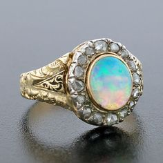 Love the rose gold aspect! A Brandt and Son - Victorian Large Cabochon Opal & Diamond Ring ~ Beautiful ! Moonstone Ring, Opal Rings, White Opal, White Gold, My Birthstone, October Birth Stone, Ancient Jewelry, Dream Ring, Opal Jewelry