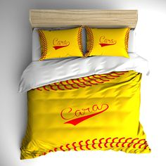 Monogrammed Stitched Softball Theme Bedding -stitch look yellow softball design, Your monogram - can change colors