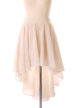 Asymmetric Waterfall Skirt in Ivory