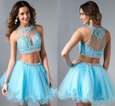 Cheap Cheap Prom Dresses - Discount Custom Two Pieces 2015 Short Tulle Prom Dress with Appliques Beads Rhinestone Sheer Sixteen Graduation Cocktail Homecoming Dresses Online with $83.77/Piece on Beautiful_wedding's Store | DHgate.com