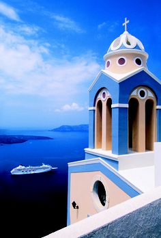 Cruises that are never going to happen, but this picture of, what seems to be, Greece is beautiful!