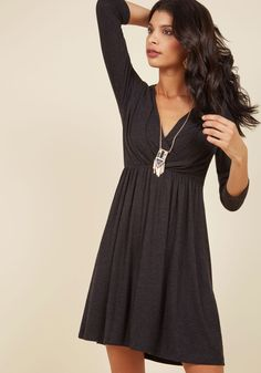 After the Party A-Line Dress in Soft Black. Once youve said goodnight to your evening attire, grab a late night snack with friends in this soft, jersey knit dress! #black #modcloth