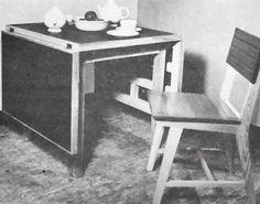 Plegable mesa de comedor y silla a juego para los interiores del multifamiliar Miguel Alemán, México DF, 1949  Diseños de Clara Porset -  Folding dining table and matching chair designed for living in the Multifamiliar Miguel Aleman, Mexico City, 1949.