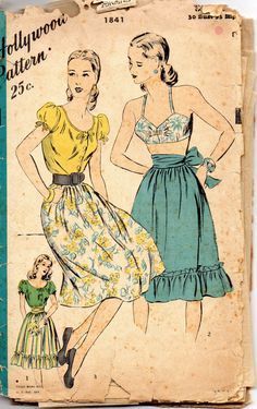 Hollywood 1841 1940s  Misses Peasant Blouse Full Skirt by mbchills, $43.00