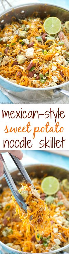 Loaded with all kinds of Mexican-style goodness and made entirely in one skillet, these easy sweet potato noodles are going to quickly become a family favorite! @realbirdseye @farmrichsnacks #FullnRichFlavor #Pmedia #ad