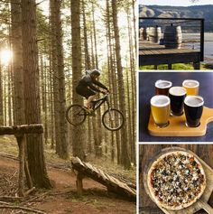 Clockwise from left: Biking off a ramp at Post Canyon; Memaloose Wines; a beer flight at Double Mountain Brewery & Taproom; pizza at Solstice Wood Fire Cafe & Bar. Hood River, OR