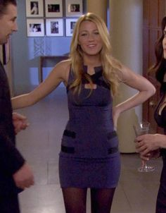 Serena 5x21 blue and black bodycon cutout dress by Georges Chakra | Gossip Girl style