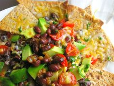 loaded healthy nachos (the chips are a flat out wrap cut up and broiled 4-5 min on one side, 1-2 on the other)