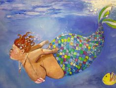 Mermaid bbw art on canvas bathroom fine art print  by DarlingRomeo