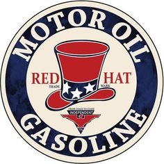 Red Hat Gasoline Motor Oil, Aluminum Metal Sign, 3 Sizes Available, USA Made Vintage Style Retro Garage Art by HomeDecorGarageArt on Etsy Garage Signs, Garage Art, Vintage Metal Signs, Antique Signs, Old Signs, Aluminum Metal, Advertising Poster, Red Hats, Oil And Gas