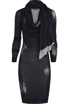 Alexander McQueen Distressed silk-knit pencil dress