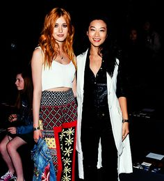 "katmcnamara: "" Katherine McNamara and Arden Cho attend Desigual fashion show during Fall 2016 New York Fashion Week: The Shows at The Arc, Skylight at Moynihan Station on February 2016 in New York. Arden Cho, Shadowhunters Tv Show, Jace Wayland, Teen Wolf Cast, Clary Fray, Katherine Mcnamara, Jennie, Cassandra Clare, Mortal Instruments"