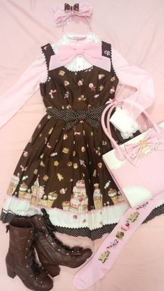Sweet lolita candy cane brown cream and pink
