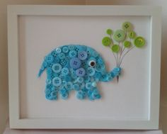 Button animals! Would be adorable gift for a baby shower or decoration for a little one's room. Cute! Teddy Bear, Cat, Dog, etc. Even flowers or butterflies. Could use cookie cutter to trace shape onto felt. Cut out, glue buttons on. Apply to frame.