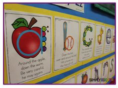 Check out our reading wall. Everything from blending cards to alphabet formation poems that will help your students form the letters correctly. Preschool Letters, Kindergarten Writing, Learning Letters, Kindergarten Literacy, Early Literacy, Preschool Poems, Kindergarten Handwriting, Abc Learning, Daycare Curriculum