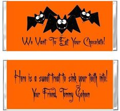 specializes in custom invitations and party favors for all occasions. Hershey Candy Bars, Hershey Bar, Halloween Candy, Holidays Halloween, Vampire Bat, Candy Bar Wrappers, Custom Invitations, Bats, Festive