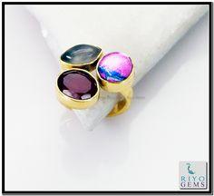 Multi Red Onyx Gems Stones 18-Kt Y.G. Plated Regards Ring Sz 6 Gprmul6-5242 http://www.riyogems.com
