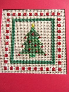 Christmas Completed Cross Stitch Card  Blank Xmas by MouseGarden
