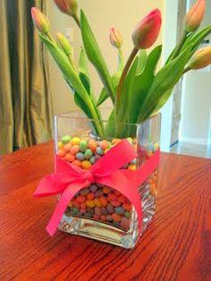 Tulips in a jellybean vase.