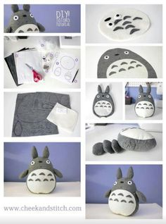 DIY Totoro ~ I must make this! So #cute! #Totoro ^___^ -- Dying to try making a huge floor pillow for my DH's birthday ;-)