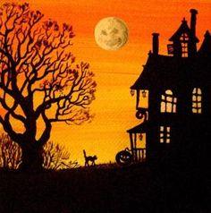 4X4 PRINT OF PAINTING RYTA HALLOWEEN WITCH LANDSCAPE BLACK CAT CLOCK STEAMPUNK