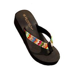 YOUJIA Femmes Tongs /ét/é Chaussures de Plage Boh/ême Satin/é Plateforme Sandales