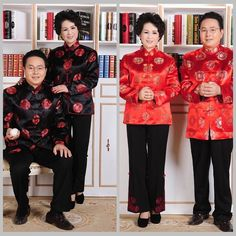 ae5f2b9b1ff8 Long Sleeve Middle Aged Men Chinese Tang Tops Ancient Men Grandparents  Birthday Tops Red Wedding Clothing