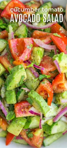 Cucumber Tomato Avocado Salad with the best lemon dressing and fresh cilantro This salad recipe is a keeper Easy Excellent Salad salad cucumbersalad tomatosalad cucumbertomatosalad avocadosalad cucumbertomatoavocadosalad saladrecipe natashaskitchen Avacodo Salad, Cucumber Avocado Salad, Avocado Salad Recipes, Avocado Toast, Cucumber Dressing, Recipe For Cucumber Salad, Cucumber Yogurt, Fresh Avocado, Lime Dressing