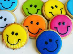 Colorful Smiley Face Cookies