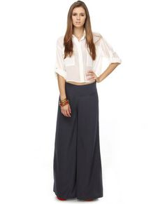 Meet me at Midnight wide leg navy pants from lulus.com $41- I've been looking for some comfy wide leg pants! love the look.