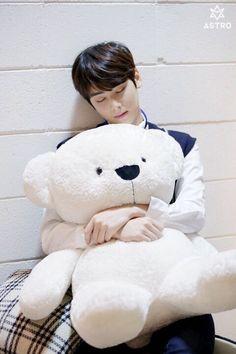 I want that teddy bear sooo badly. It it so cute and giant and fluffy! Chanyeol, Kim Myungjun, Cha Eunwoo Astro, Astro Wallpaper, Lee Dong Min, Astro Fandom Name, Sanha, Korean Bands, Kdrama Actors