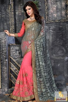 Latest shadi event jacquard georgette grey pink saree for all the modern grand year girls and women. Buy this heavy embroidery and jari work fashionable saree. #saree, #embroiderysaree more: http://www.pavitraa.in/store/embroidery-saree/