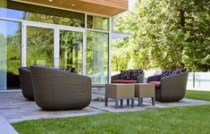 There's a lot to consider when it comes to planning your perfect garden patio, from design ideas like paving and furniture, to sticking to budget. Diy Patio Furniture Cheap, Patio Furniture Cushions, Garden Furniture, Outdoor Furniture Sets, Outdoor Decor, Outdoor Rooms, Memorial Day Furniture Sales, Porches, Indoor Places