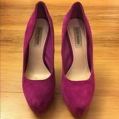 """Steve Madden """"babylonn"""" pump Steve Madden Magenta suede pump with a 6 in. Heel and 2 in platform. They have been worn 2-3 times max. They are in great condition and have very minimal scuff marks. Steve Madden Shoes Heels"""