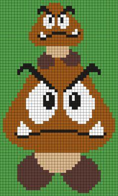 Goombas From Super Mario Bros. Perler Bead Pattern / Bead Sprite