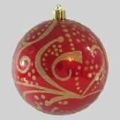 80mm Red Shiny Ball With Gold Glitter Scroll  Code: BADE008REGOGLSCR