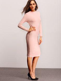 Pink Long Sleeve Round Neck Sheath Dress