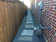 GroundScape installed a side yard path. Landscaping Company, Sidewalks, Walkways, Paths, Concrete, Yard, Exterior, Homes, Landscape