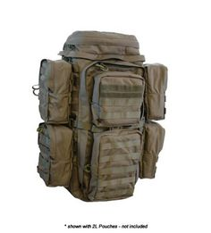 Eberlestock FAC TRACK F3F, pictured with 4 additional 2L MOLLE pouches mounted on either side.