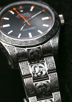 Rolex Milgauss 116400 Engraved By MadeWorn - The Rolex Milgauss reference 116400 watch is a modern classic. Sporty and historic, this popular Rolex timepiece today serves as the slightly avant-garde, casual-to-dress watch evoking good taste, a focus on pe Dream Watches, Men's Watches, Cool Watches, Fashion Watches, Watch Engraving, Hand Engraving, Mode Masculine, Luxury Watches For Men, Beautiful Watches