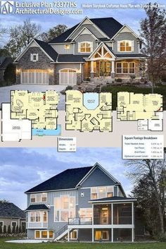 Architectural Designs Exclusive Craftsman House Plan 73377HS gives you a 2-story great room and 4 beds upstairs with a 5th in the optional finished lower level. Over 3,600 square feet of heated living space plus that lower level. Ready when you are. Where do YOU want to build? #73377hs #adhouseplans #architecturaldesigns #houseplan #architecture #newhome #newconstruction #newhouse #homedesign #dreamhome #dreamhouse #homeplan #architecture #architect #craftsmanhouse #craftsmanplan…