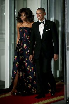 First Lady Michelle Obama is legendary for her gorgeous State Dinner gowns. For the March 2016 State Dinner, this custom, strapless jacquard gown by Jason Wu was perfection!