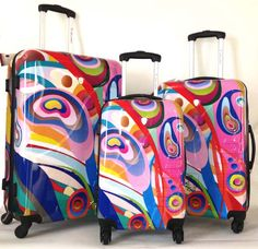 Hard Shell Luggage Sets | Dejuno 3 PC Luggage Set Hard Rolling 4WHEEL Spinner Carryon Travel ...