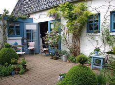 cour intérieure d'esprit méditerranéen aménagée avec des pavés, des buis en boule, des arbustes grimpants et des meubles en bois blanc et bleu