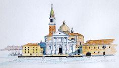 San Giorgio Maggiore Island in Venice ~ sketch ~ John Edwards