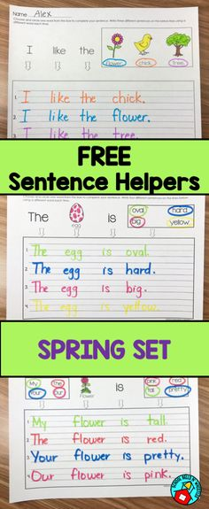 Perfect for struggling writers, students in special education, and ELL! Try this free sample set! 1st Grade Writing, Work On Writing, Sentence Writing, Teaching Writing, Writing Activities, Writing Process, Sentence Types, Writing Curriculum, Writing Centers